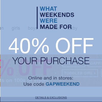GAP 40 Off Your Purchase Promo Code (Jan 8-9)