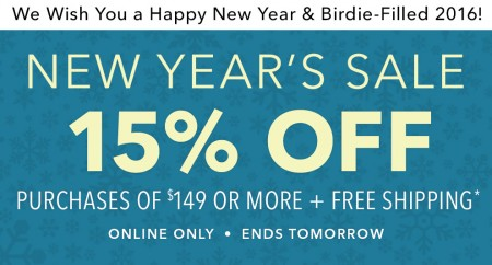Golf Town Happy New Year's Sale - Extra 15 Off $149 Purchase + Free Shipping (Jan 1-2)