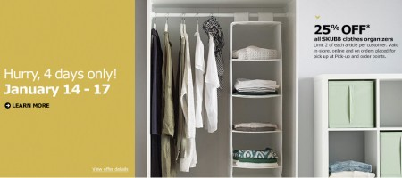 IKEA 25 Off all SKUBB Clothes Organizers (Jan 14-17)
