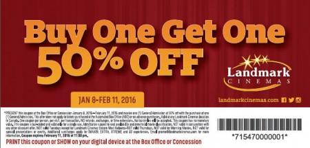 Landmark Cinemas BOGO 50 Off Coupon - Buy One General Admission, Get One 50 Off (Jan 8 - Feb 11)