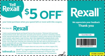 Rexall $5 Off Coupon When you Spend $25 (Until Feb 8)