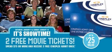 Shoppers Drug Mart Get 2 Free Cineplex Movie Tickets when you Spend $75 (Jan 9-10)