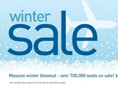WestJet Winter Sale - Massive Winter Blowout Seat Sale (Book by Jan 12)