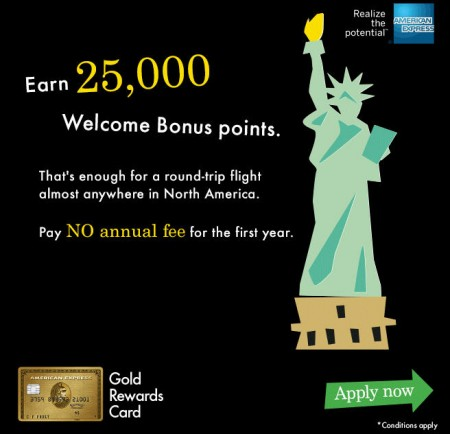 #1 Best Travel Rewards Credit Card American Express Gold Rewards Card - 25K Bonus Points + First Year Free