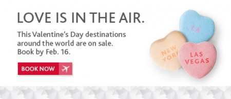 Air Canada Valentine's Day Seat Sale (Book by Feb 16)