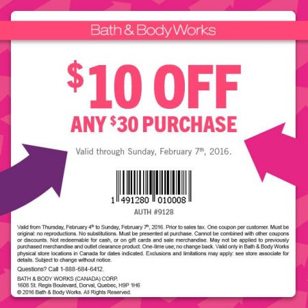 Bath & Body Works $10 Off Any $30 Purchase Coupon (Feb 4-7)