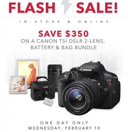 Best Buy Flash Sale - Save $350 on a Canon T5I DSLR 2-Lens, Battery & Bag Bundle (Feb 10)