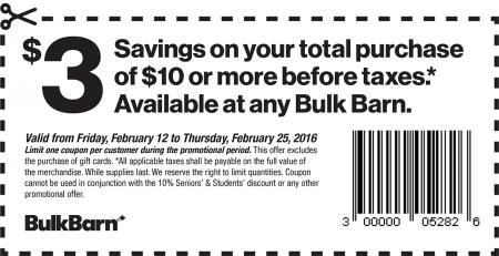 Bulk Barn $3 Off Your $10 Purchase Coupon (Feb 12-25)