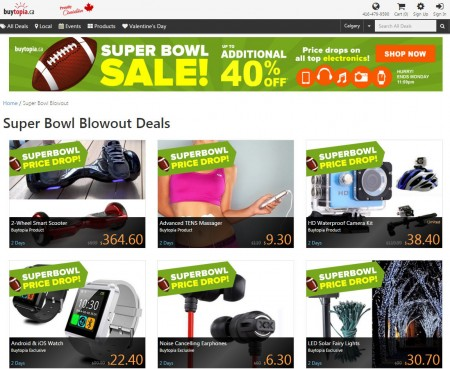Buytopia.ca Super Bowl Sale - Up to Extra 40 off Top Electronics (Feb 7-8)