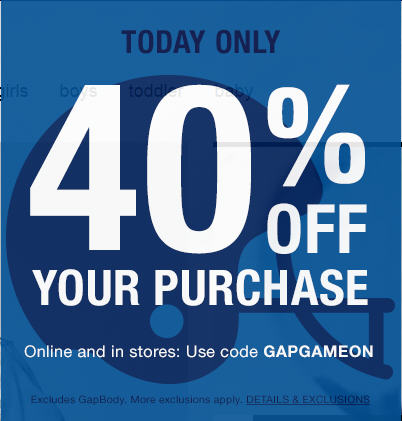 GAP 40 Off Your Purchase Promo Code (Feb 7-8)