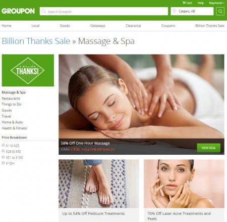 GROUPON Billion Thanks Sale - Up to 80 Off Select Massage & Spa Deals (Feb 29)