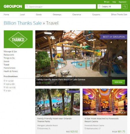 GROUPON Billion Thanks Sale - Up to 80 Off Select Travel Deals (Feb 28)