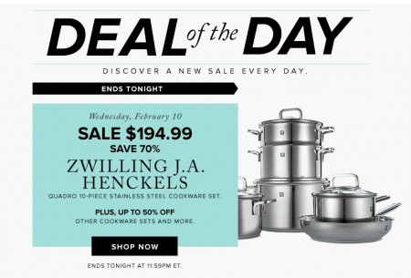 Hudson's Bay Deal of the Day - $194.99 for Zwilling JA Henckels 10-Piece Cookware Set - Save 70 Off (Feb 10)