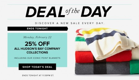 Hudson's Bay Deal of the Day - 25 Off All Hudson's Bay Company Collection (Feb 22)