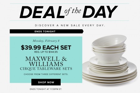 Hudson's Bay Deal of the Day - $39.99 for Maxwell & Williams Cirque Tableware Sets - Save up to 72 Off (Feb 8)