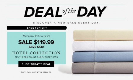 Hudson's Bay Deal of the Day - 52 Off Hotel Collection 525-Thread Count Queen Sheet Sets (Feb 25)