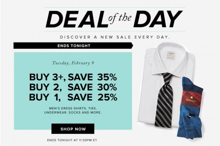 Hudson's Bay Deal of the Day - Buy More, Save More - Men's Dress Shirts, Ties, Underwear, Socks and more (Feb 9)