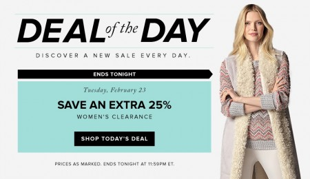 Hudson's Bay Deal of the Day - Extra 25 Off Women's Clearance (Feb 23)