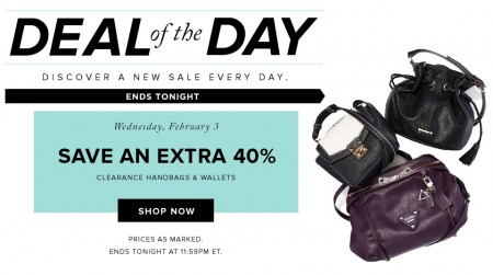 Hudson's Bay Deal of the Day - Extra 40 Off Clearance Handbags and Wallets (Feb 3)
