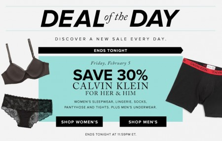 Hudson's Bay Deal of the Day - Save 30 Off Calvin Klein (Feb 5)