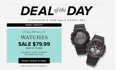 Hudson's Bay Deal of the Day - Save up to $50 on Casio G-shock and Baby-G Watches (Feb 12)