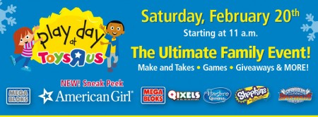 Toys R Us FREE Play Day Family Event (Feb 20, 11am-1pm)