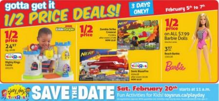 Toys R Us Half Price Deals (Feb 5-7)