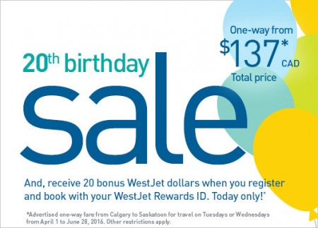 WestJet 20th Birthday Sale (Book by Mar 7)