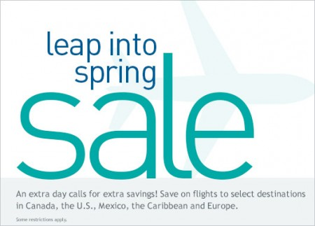 WestJet Leap Into Spring Sale (Feb 28-29)