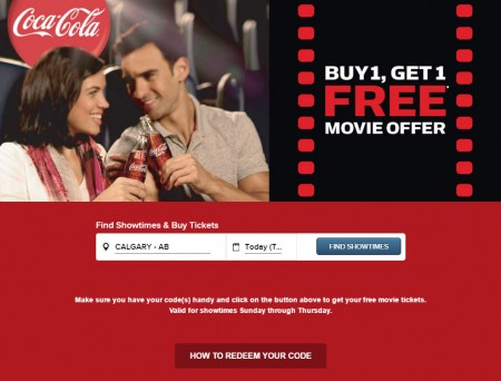 Cineplex Buy 1, Get 1 Free Movie Offer with Coca-Cola Product (Until June 30)