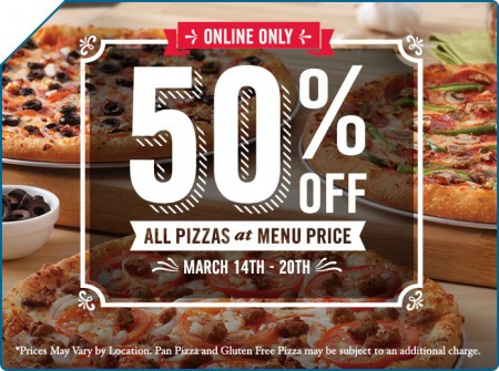 Domino's Pizza 50 Off All Pizzas (Mar 14-20)