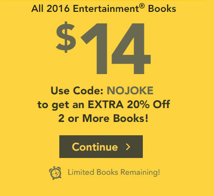 Entertainment Book All 2016 Coupon Books only $14 + Free Shipping (Up to 72 Off)