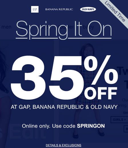GAP, Banana Republic, and Old Navy 35 Off Online Purchase Promo Code (Mar 6-7)