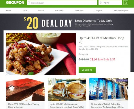 GROUPON $20 Deal Day - Deep Discounts, Today Only (Mar 31)