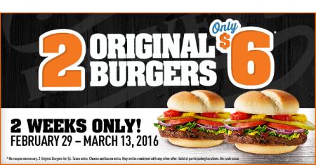 Harvey's 2 Original Burgers for only $6 (Until Mar 13)