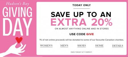 Hudson's Bay Giving Day - Save up to an Extra 20 Off Almost Anything Promo Code (Mar 24)