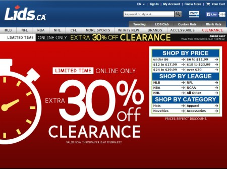 Lids Extra 30 Off Clearance Sale (Mar 8-9)