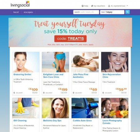LivingSocial Treat Yourself Tuesday - Extra 15 Off Promo Code (Mar 8)