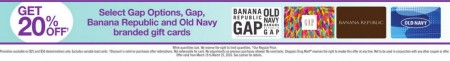 Shoppers Drug Mart 20 Off Gift Cards to Gap, Banana Republic or Old Navy (Mar 19-25)