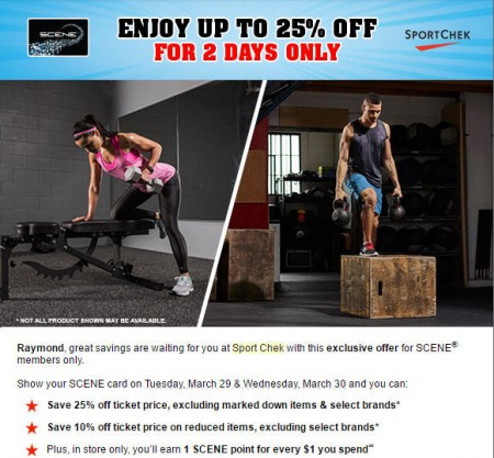 Sport Chek Save up to 25 Off with SCENE Card (Mar 29-30)