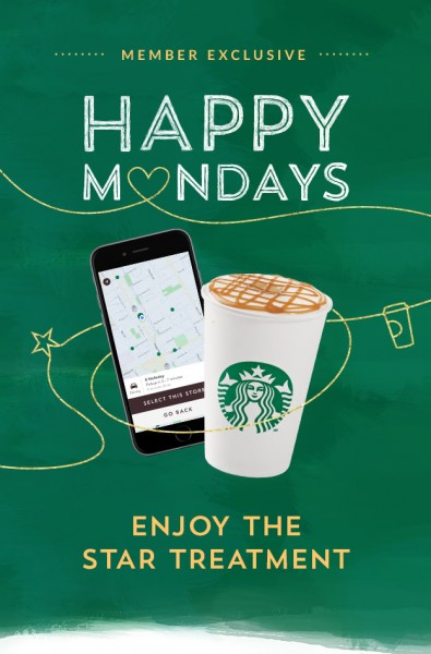 Starbucks Happy Mondays - 3 Bonus Stars when you Mobile Order & Pay (Mar 21)