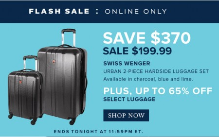 TheBay.com Flash Sale - Save $370 on Swiss Wenger Urban 2-Piece Luggage Set + Up to 65% Off Select Luggage (Mar 9)
