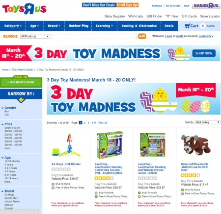 Toys R Us Toy and Baby Madness Event (Mar 18-20)A