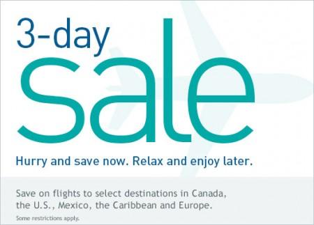 WestJet 3-Day Seat Sale (Book by Mar 17)