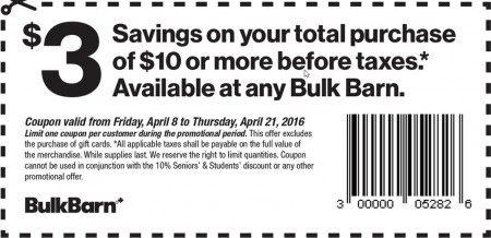 Bulk Barn $3 Off Your $10 Purchase Coupon (Apr 8-21)