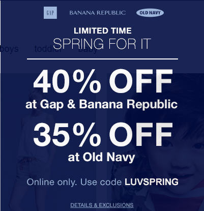 Gap Banana Republic 40 Off Your Purchase; and 35 Off at Old Navy (Apr 3-4)
