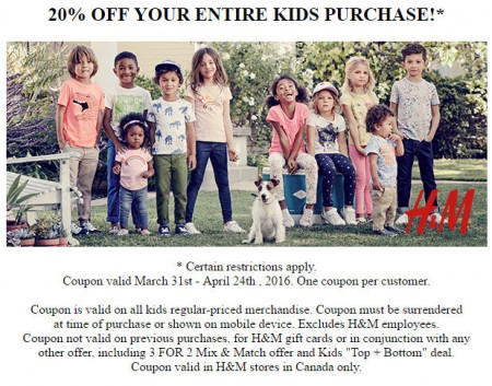 H&M 20 Off Entire Kids Purchase Coupon (Until Apr 24)