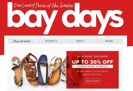 Hudson's Bay Bay Days - 30 Off Women's Shoes & Sandals (Apr 8-14)