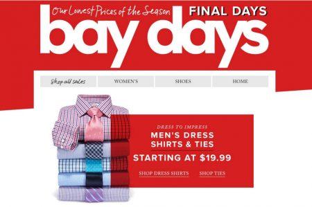 Hudson's Bay Bay Days - Men's Dress Shirts & Ties starting at $19.99 (Until Apr 28)