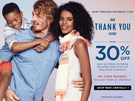 Old Navy Thank You Event - 30 Off Online Purchase (Apr 24-30)